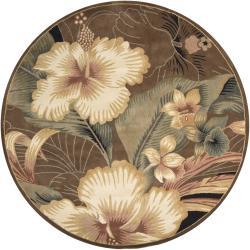 Hand-tufted Mandara Brown Floral Wool Rug (7'9 Round)