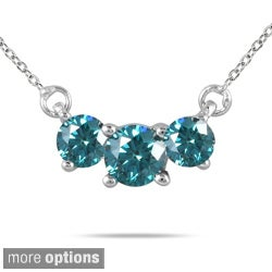 14k White Gold 1/4 to 1ct TDW Diamond 3-stone Necklace