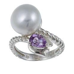 Kabella Sterling Silver Freshwater Pearl and Amethyst Ring (11-12 mm)