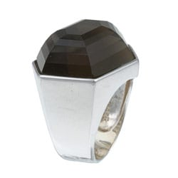 Kabella Sterling Silver Smoky Quartz and Cubic Zirconia Ring
