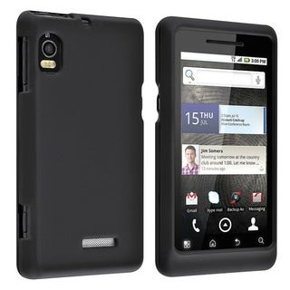INSTEN Black Snap-on Rubber Coated Phone Case Cover for Motorola Droid 2