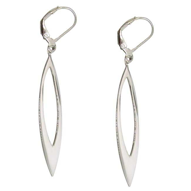 Sterling Silver Elongated Open Marquise Drop Earrings