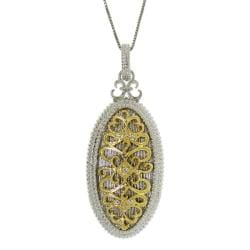 Gold over Silver Two-tone CZ Vintage Oval Necklace