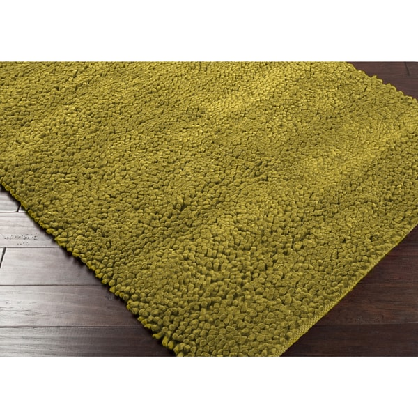 Lime Green Overdyed Rug: Hand-woven Nimbus Lime Green Wool Rug