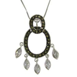 Sterling Silver Double Oval Art Deco Marcasite Necklace