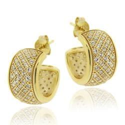 Icz Stonez 18k Gold over Sterling Silver Cubic Zirconia Hoop Earrings