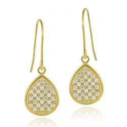 Icz Stonez 18k Gold over Sterling Silver Pave CZ Dangle Earrings