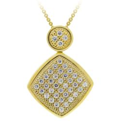 Icz Stonez 18k Gold over Sterling Silver Pave Cubic Zirconia Necklace