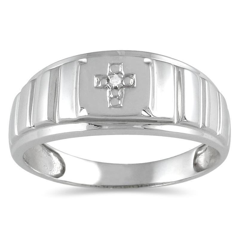 10k White Gold Men's Diamond Accent Cross Ring