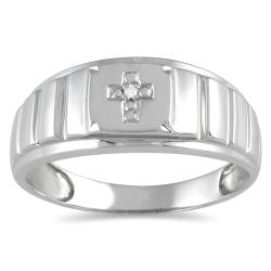 10k White Gold Men's Diamond Accent Cross Ring