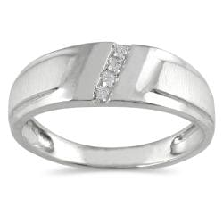 10k White Gold Men's 1/10ct TDW Diamond Ring (I-J, I1-I2)