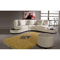 Pyrite White Leather Sectional