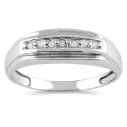 10k White Gold 1/10ct TDW Men's Diamond Ring (H-I, I1-I2)
