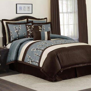 Lush Decor Blue Cocoa Flower 8-piece Comforter Set