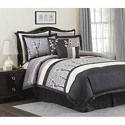 Lush Decor Black Cocoa Flower 8-piece Comforter Set