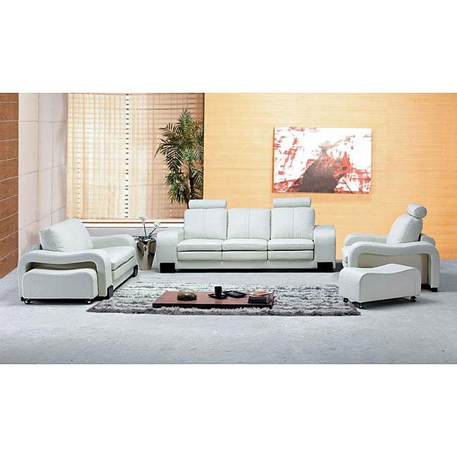 Oakland modern white leather living room set 13129946 for Living room set deals