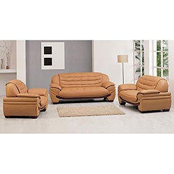 Westminster Contemporary Camel Leather 3-pc Sofa Set