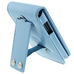 INSTEN Light Blue Leather iPod Case Cover and LCD Screen Protector Kit for iPod Touch