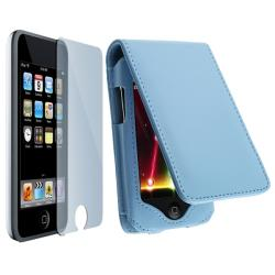Light Blue Leather Case and LCD Screen Protector Kit for iPod Touch