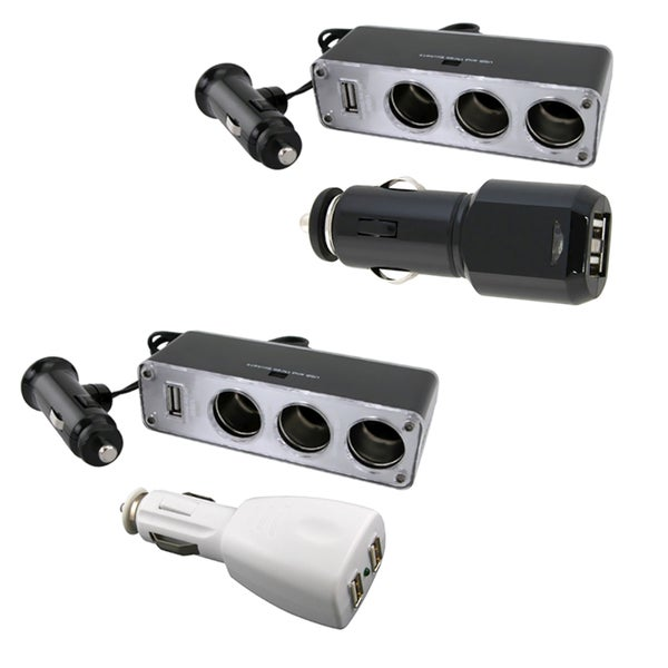 INSTEN 3-way Car Lighter Splitter and 2-port USB Car Charger