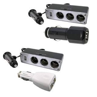 3-way Car Lighter Splitter and 2-port USB Car Charger