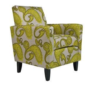 angelo:HOME Sutton Modern Lemongrass Paisley Arm Accent Chair