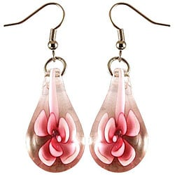 Murano Inspired Glass Pink Flower Teardrop Earrings