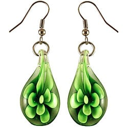 Murano Inspired Glass Green Flower Teardrop Earrings