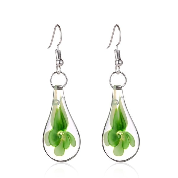 Murano Inspired Glass Green Flower Teardrop Earrings 7281639