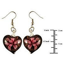 Murano Inspired Glass Black and Pink Flower Heart Earrings