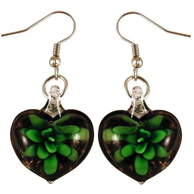 Murano Inspired Glass Black and Green Flower Heart Earrings