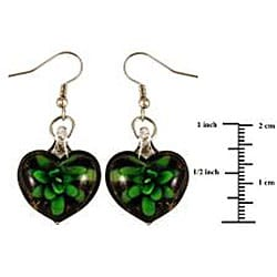 Murano Inspired Glass Black and Green Flower Heart Earrings
