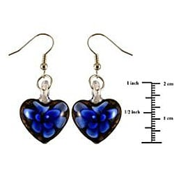 Murano Inspired Glass Black and Blue Flower Heart Earrings