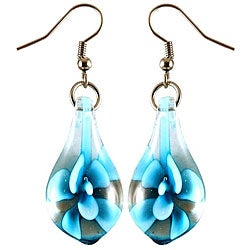 Murano Inspired Glass Sky Blue Flower Teardrop Earrings