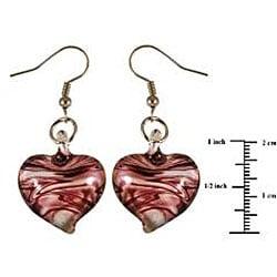 Murano Inspired Glass Purple and White Swirl Heart Earrings