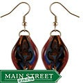 Murano-inspired Glass Purple Twisted Leaf Dangle Earrings