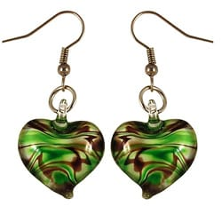 Murano-inspired Glass Heart Dangle Earrings
