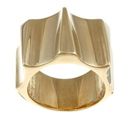 Sterling Essentials 14K Gold over Silver Runaway Ring