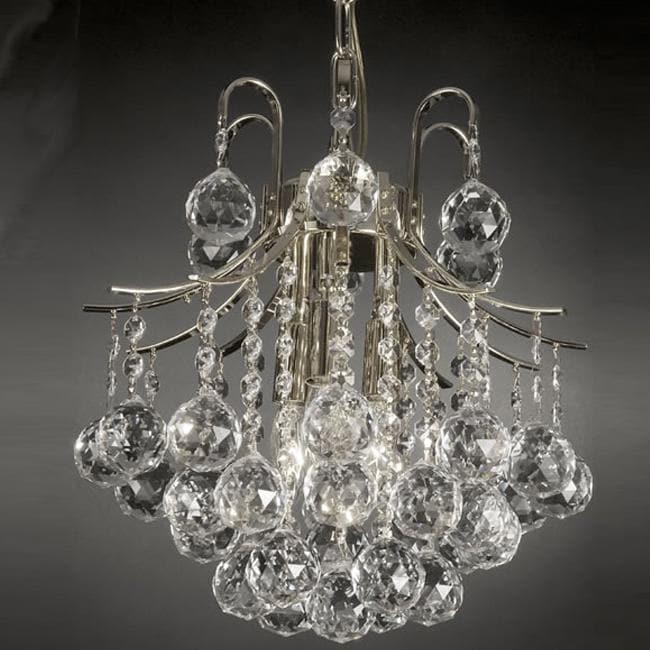 Gallery Indoor 3-light Crystal/ Silver Mini Chandelier