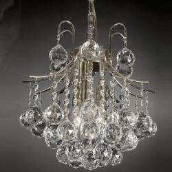 Indoor 3-light Crystal/ Silver Mini Chandelier