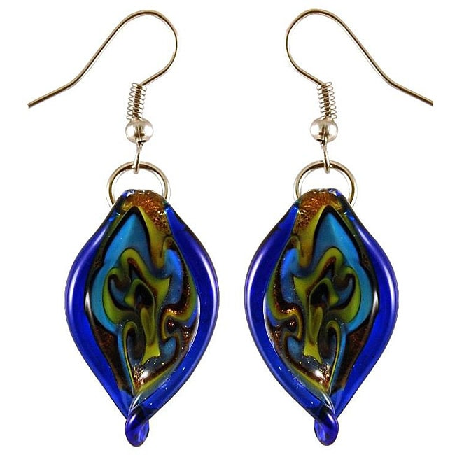 Murano Inspired Glass Blue Twisted Leaf Earrings