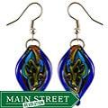 Murano Inspired Glass Blue Twisted Leaf Earrings