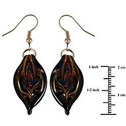 Murano Inspired Glass Black Twisted Leaf Earrings