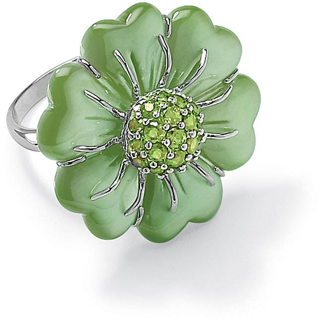 PalmBeach 1.19 TCW Flower Cut Jade Sterling Silver Peridot Accent Ring Naturalist