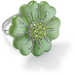 Angelina D'Andrea Sterling Silver Jade and Peridot Flower Ring