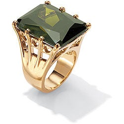 PalmBeach 35.40 TCW Octagon-Cut Olivine Cubic Zirconia Cocktail Ring in 18k Gold over Sterling Silver Color Fun