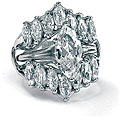 Ultimate CZ Sterling Silver Marquise-cut Cubic Zirconia Ring