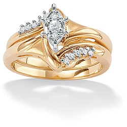 PalmBeach 10k Gold 1/6ct TDW Diamond 2-piece Ring Set (I-J, I2-I3)