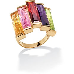 Lillith Star 18k Gold over Sterling Silver Multi-colored Cubic Zirconia Ring