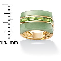 Angelina D'Andrea 18k Gold Over Sterling Silver Peridot and Jade Ring